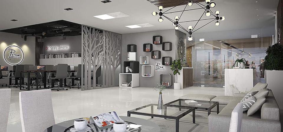 Hình ảnh văn phòng tiếp khách cho các đại lý mỹ phẩm Pizu
