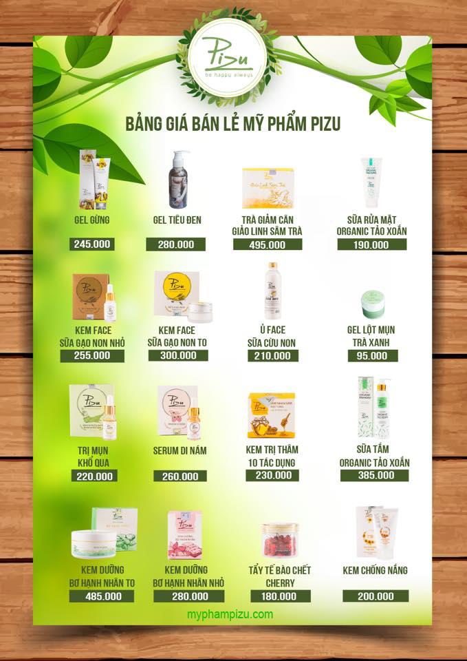 Bảng giá bán lẻ mỹ phẩm Pizu